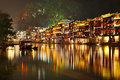 Fenghuang phoenix ancient town night hunan province china Royalty Free Stock Images