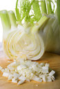 Fennel half a and a behind with croutons Royalty Free Stock Photo