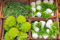 Fennel and romanesco broccoli for sale at a market Stock Photos