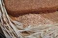 Ferment bread on home ear of wheat grain wheat Royalty Free Stock Photo
