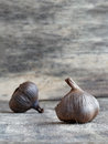 Fermented black garlic bulbs Royalty Free Stock Photo