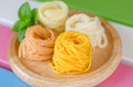 Fermented rice flour noodles kanom jeen are fresh in thai cuisine which are made from Stock Photos