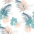 Fern and palm tropical leaves seamless pattern . Bush plant leaves decoration on white background.
