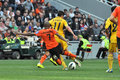Fernandinho knocks the ball from under the feet of an opponent during match between shakhtar donetsk ukraine vs metalist Royalty Free Stock Image