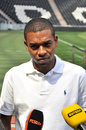 Fernandinho thinking the vice captain of shakhtar met with the media on the sidelines of the donbass arena pitch before the game Royalty Free Stock Photos