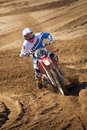 Fernley sandbox dirt bike racer cornering rd annual gp motor cross race in nevada held on march th and th Stock Photography