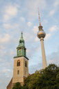Fernsehturm television tower berlin germany september in alexanderplatz the is the highest construction in germany Royalty Free Stock Photography