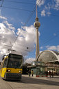 Fernsehturm and tram at alexanderplatz Stock Images