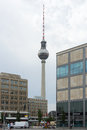 The fernsehturm tv tower on alexanderplatz berlin august and square is one of symbols of berlin august Royalty Free Stock Photo