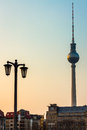 Fernsehturm tv tower berlin tover in the early evening Royalty Free Stock Photos