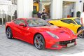 Ferrari f berlinetta moscow russia june red supercar at the city street Stock Images