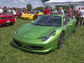Ferrari latest sports car in metallic green with a liter v engine producing hp Stock Photography