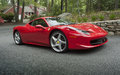 Ferrari sportscar latest italian v mid engined with over horsepower Stock Image