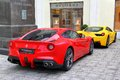 Ferrari supercars moscow russia june red and yellow at the city street Stock Photos
