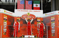 Ferrari world finals at mugello race track trofeo pirelli coppa shell winner giasue rizzuto david gostner and harry cheung Royalty Free Stock Image