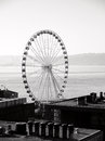 Ferris wheel behind city roofs in seattle Royalty Free Stock Images
