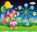 A ferris wheel and the clown with balloons illustration of Stock Images