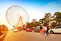 Ferris wheel and the crowd Royalty Free Stock Image