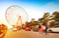 Ferris wheel and the crowd Stock Photography