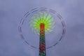 Danger carousel - big wheel in motion at night Royalty Free Stock Photo