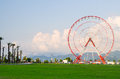 Ferris wheel on green field, mountains, palms and blue sky with light clouds in Batumi, Georgia Royalty Free Stock Photo