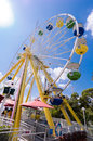 Ferris wheel is a large shaped mechanical building facilities hanging above the edge of the is available for Royalty Free Stock Images