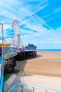 Ferris wheel located at the central pier in blackpool england uk Stock Photo