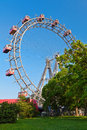 Ferris wheel prater a historic with red cabins in vienna austria Stock Photo