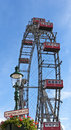Ferris wheel of vienna in prater the famous at the riesenradplatz giantwheel square the park austria Stock Image