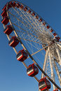 Ferris wheel white with blue sky background red gondolas Royalty Free Stock Photos