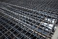 Ferro concrete reinforcement with tensioned cables in the superstructure of the bridge Royalty Free Stock Images