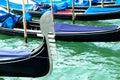 Ferro of gondola docked on the venetian lagoon closeup Royalty Free Stock Photos