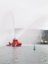 Ferrol spain february spanish sea rescue tug on february in this is pouring water over the entrance to the ship Royalty Free Stock Photos