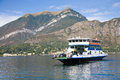 Ferry boat on como lake a transporting people and cars the in bellagio italy Stock Images