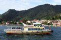Ferry boat near pier in parapat indonesia Royalty Free Stock Images