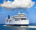 Ferry boat in open sea Royalty Free Stock Photo