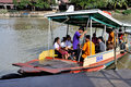 Ferry boat in thailand school children board a to cross the river ayutthaya Royalty Free Stock Image