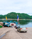 Ferry boat transport car traveler to national park Stock Image