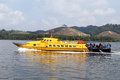 Ferry boat yellow on the way to pangkor island malaysia Royalty Free Stock Photography