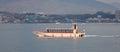 The ferry going to the island of miyajima itsukushima japan from miyajimaguchi port Royalty Free Stock Images