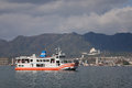 The ferry going to the island of miyajima itsukushima japan from miyajimaguchi port one most scenic spots Royalty Free Stock Images