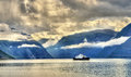 Ferry Mannheller - Fodnes crossing the Sognefjord - Norway Royalty Free Stock Photo