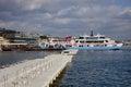 Ferry at miyajimaguchi ferry port japan the docking miyajima is a small island less than an hour outside the city of hiroshima it Royalty Free Stock Photography