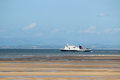 Ferry in morecambe bay with view to lake district steam packet boat on service from heysham lancashire the isle of man seen from Royalty Free Stock Photography
