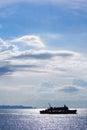 Ferry on the sea across from samui to don sak pier Stock Photo