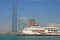 Ferry terminal with star cruises ritz carlton hotel tallest building in the world Royalty Free Stock Image