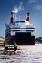 Ferry in winter Royalty Free Stock Photo