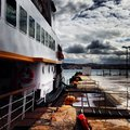 Ferry in winter day Royalty Free Stock Images