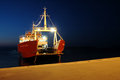 Ferryboat arrives to the dock Royalty Free Stock Photo