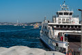 Ferryboat on the harbour with a view of istanbul s landmark bosphorus bridge Royalty Free Stock Photos